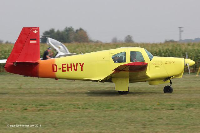 D-EHVY - 1964 build Mooney M.20D Master, arriving at Tannheim during Tannkosh 2013