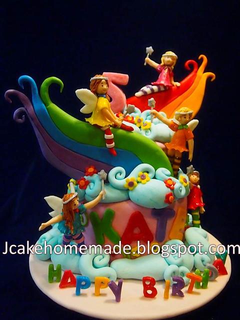 Rainbow fairies birthday cake