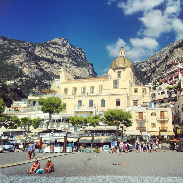 Beach and church in Positano