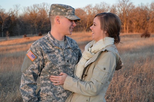 sunset portrait cute love smile field minnesota soldier army happy engagement nikon couple sweet guard camo ring national digi anoka d5100