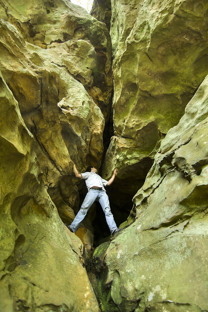 Pennsylvanian sandstone cliffs, Rami Ayoub, White Co, TN