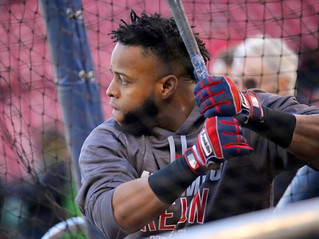 Indians DH Carlos Santana takes batting practice before Game 3 of the ALDS. | by apardavila