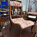 Ornate mahogany fabric framed chair €80