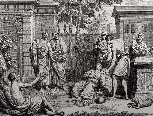 Luke in the Phillip Medhurst Collection 604 The sick are brought into the street Acts 5:16 Dutch Bible