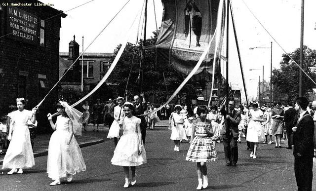 Whit Walks, St Cuthbert's, 3rd Avenue, Trafford Park, 1960