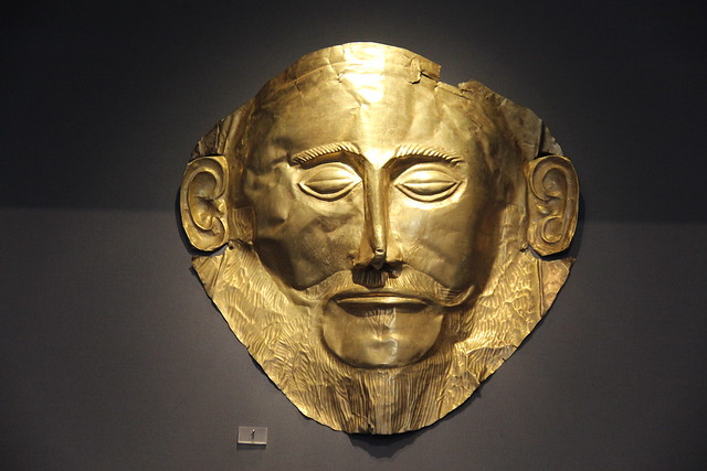 Gold death-mask known as 'Mask of Agamemnon,' Mycenae, Grave Circle A, Grave V, 16th cent. BC.