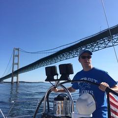 Stripes, Evan passing Mackinaw bridge