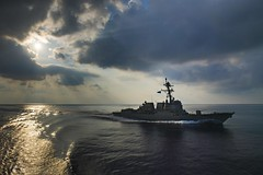 In this file photo, USS Halsey (DDG 97) transits the Indian Ocean in March. (U.S. Navy/MC3 Morgan K. Nall)