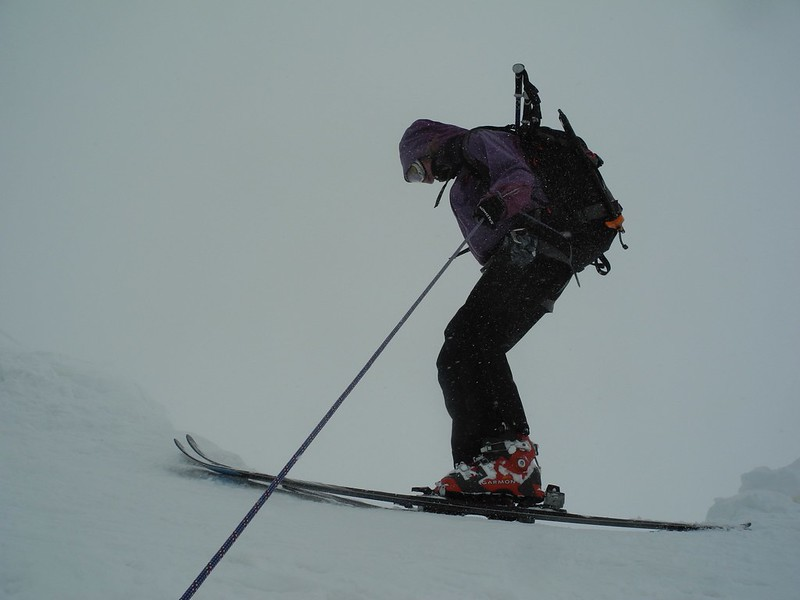 Mountain skills may also be employed. Here's Jane roping into the glacier at the back of the Stubai resort.