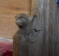 bench end: owl in flight (1950s)
