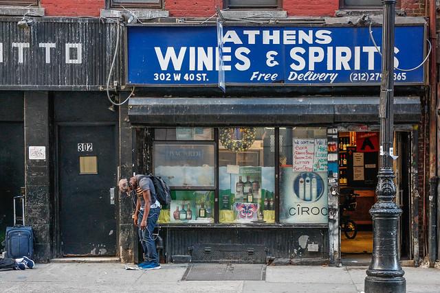 Times Square liquor store.