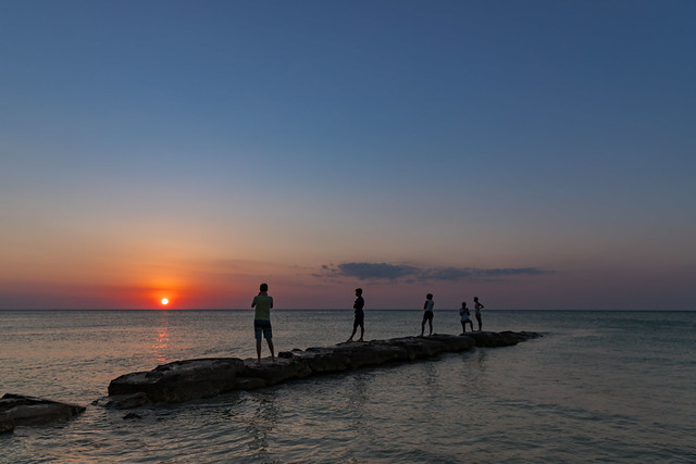 Watching the sunset on Holbox, Mexico