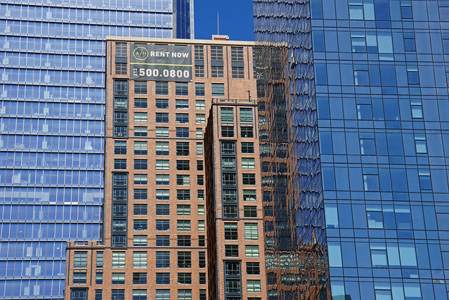 Hudson Yards Towers and 500 West 30th Street (aka Abington House) - view from the High Line, New York City