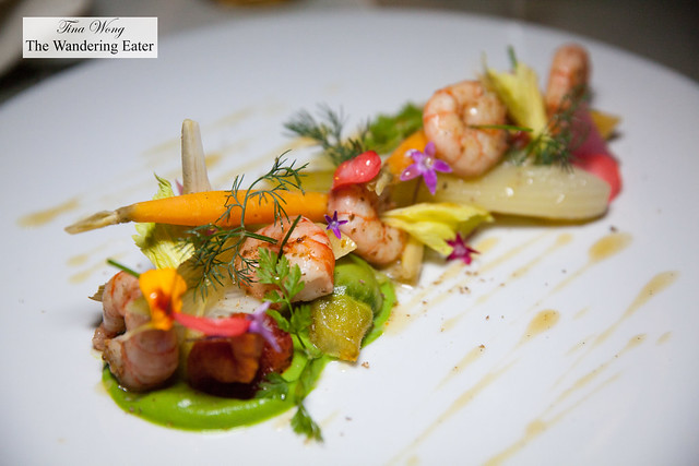 Prawns from Genoa Gulf, local vegetables