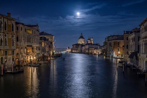 grandcanal travel reflection reflecting water canal moon nightphotography fullmoon santamariadellasalutechurch accademiabridge venice italy