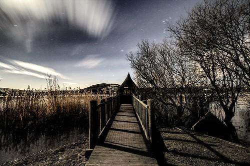 lake wales night dark stars darkness cymru orion moonlight welsh powys crannog llangorse llangors