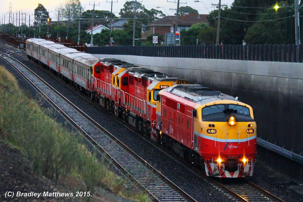 A66-N467-N474 with an up empty V/line pass transfer from Bacchus Marsh to Southern Cross at Sunshine (6/3/2015) by Bradley Matthews
