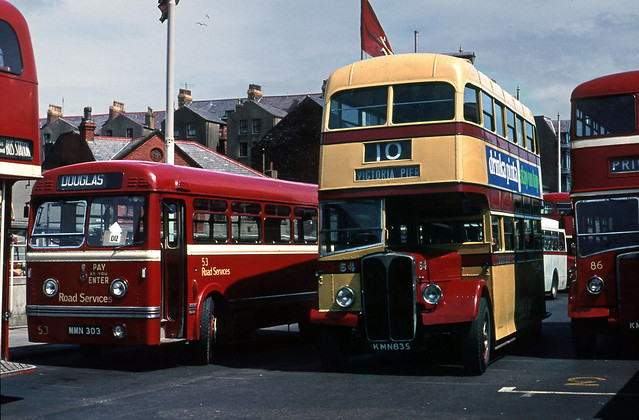 Douglas Regent No.64 with Road Sers. Olympic No.53 at Bus Stn. Jun'71.
