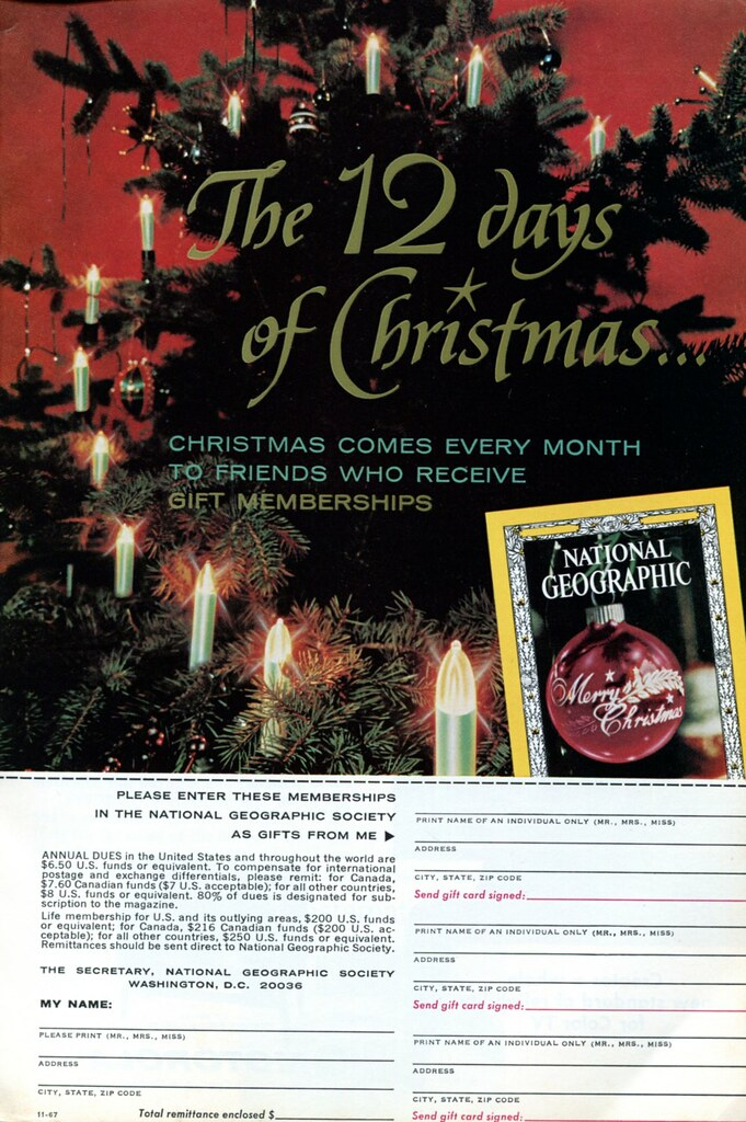 National Geographic Christmas Cards.1967 National Geographic Christmas Advertisement National
