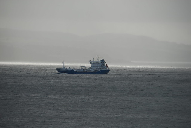 Oil tanker Furenas heading up the Clyde