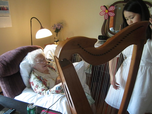 Sophia explaining the harp to Betty | by Pictures by Ann