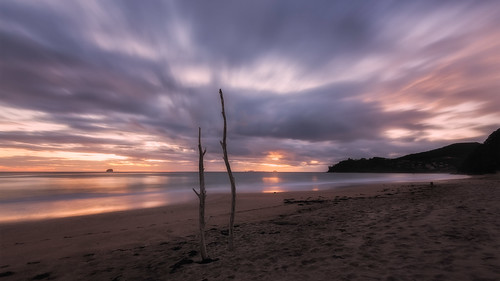 longexposure newzealand seascape beach sunrise wideangle nz northisland coromandel eastcoast hahei hotwaterbeach 16x9 earlylight leefilters nikond800 lee06gndsoft nikkor160350mmf40 solmetageotaggerpro2