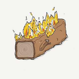 Spring is on hold this evening. Square isometric log on fire. #sketch #drawing #paper53 | by Tom Cardo-Moreno