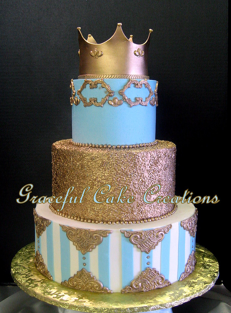 Regal And Elegant Tiffany Blue And Gold Wedding Cake Flickr