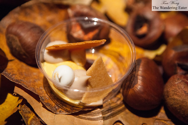 Sweet potato custard with pain d.epices and chestnuts by Nomad