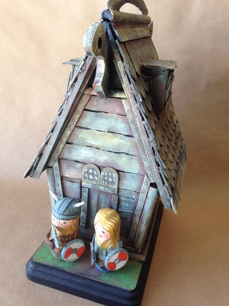 Viking Longhouse Cake Topper Wedding Cake Topper Wood Clay