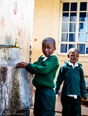 School kids washing
