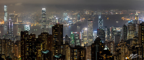 hong kong island china victoria peak view cityscape skyline landscape city night evening long exposure buildings towers skyscraper dark sony a7r panorama kowloon central sheung wan north point sel55f18z 55mm