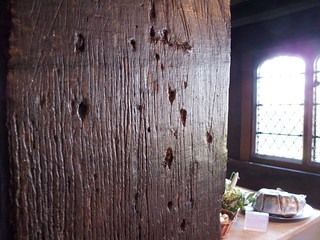 Marks in a wooden beam made by rush lights, Queen Elizabeth's Hunting Lodge | by avail