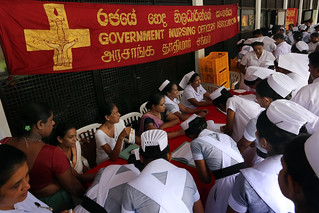 In Sri Lanka, members gather for a meeting of the Government Nursing Officers' Association (GNOA). The Solidarity Center supports health worker unions around the world. Credit: Solidarity Center/Pushpa Kumara. 2014.