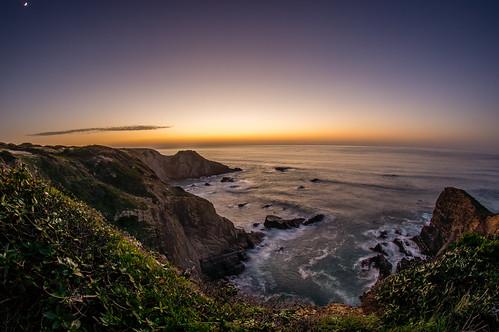 ocean longexposure sunset sky beach portugal sony ngc fisheye coastline bluehour odeceixe algarve langzeitbelichtung blauestunde dreamplace uww sonyalpha580