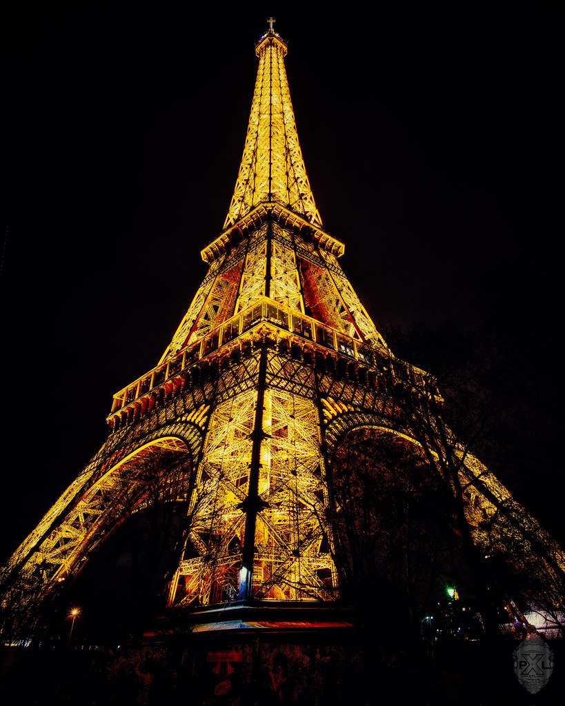 Paris By Night Eiffel Tower Vertical Panorama Three Pict Flickr