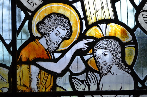 Stained glass window, All Saints' church, Mountfield   by Jules & Jenny