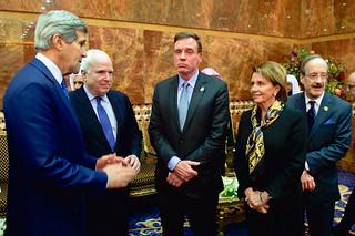 Secretary Kerry, Senators McCain and Warner, House Minority Leader Pelosi, and Representative Engel Chat Before Greeting King Salman of Saudi Arabia