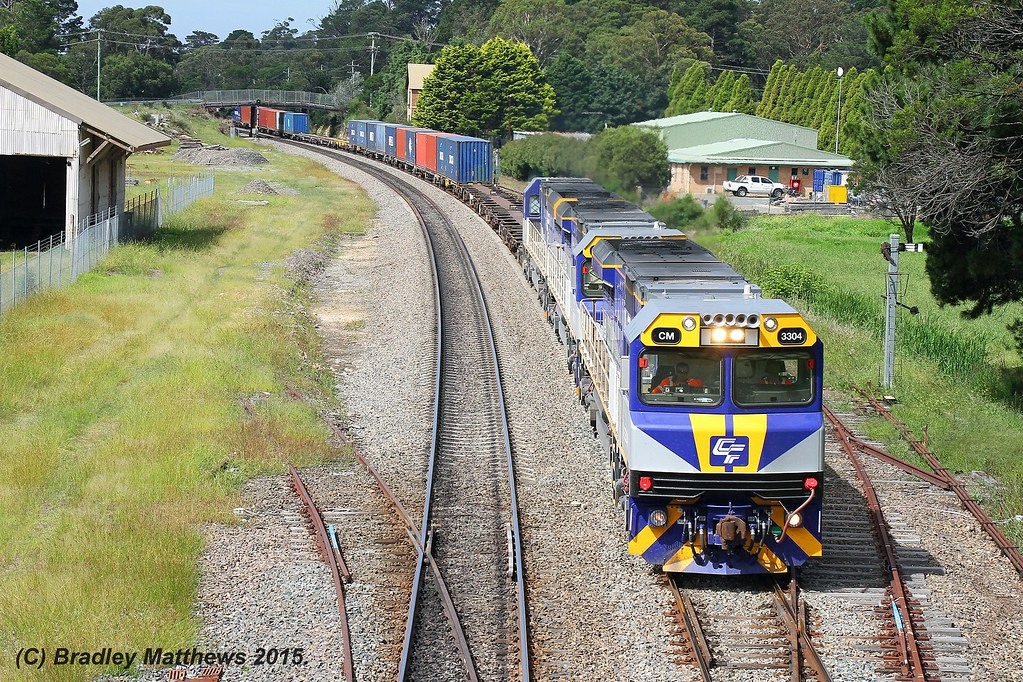 CM3304-CM3307-CM3310 with 1311N down Qube freight from Port Botany to Junee/Harefield at Mittagong (28/2/2015) by Bradley Matthews