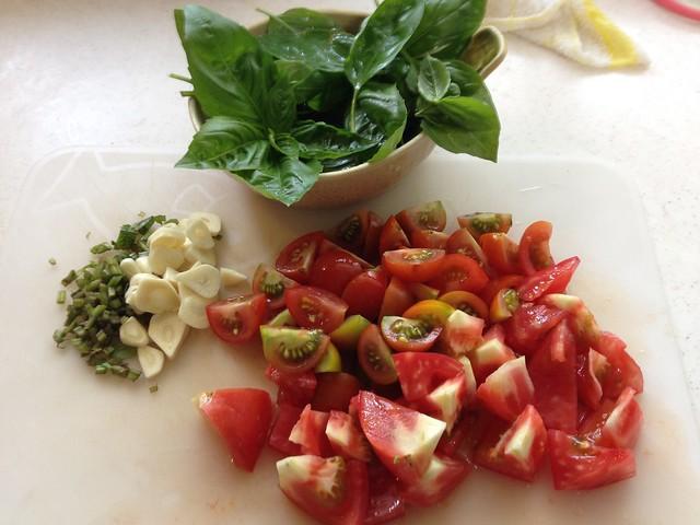 トマトとバジルのパスタ!