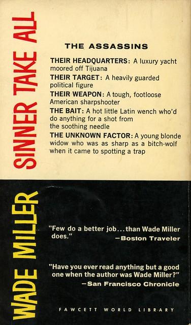 Gold Medal Books 1027 - Wade Miller - Sinner Take All (back)