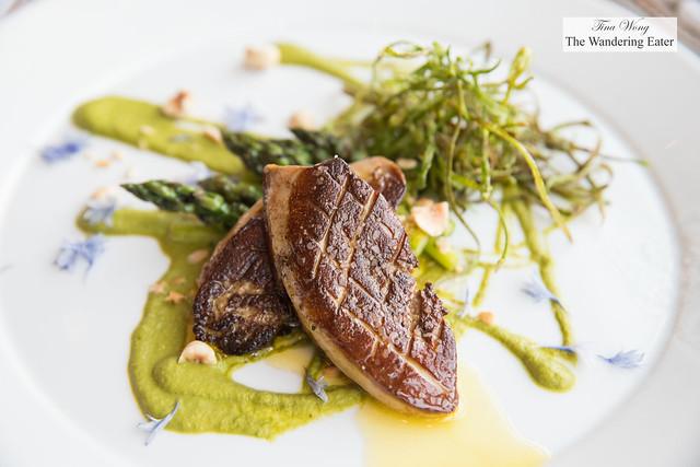 Seared foie gras piccata, asparagus and hazelnut vinaigrette