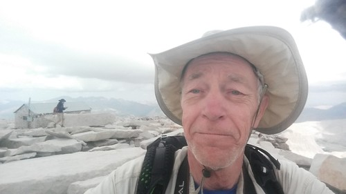 1598 I took a selfie on the summit of Mount Whitney with the summit hut in the background for proof   by _JFR_