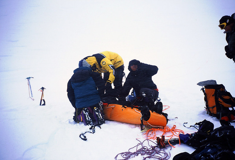 Rescue 2: packaging the hypothermic Korean climber prior to a 7 hour evacuation