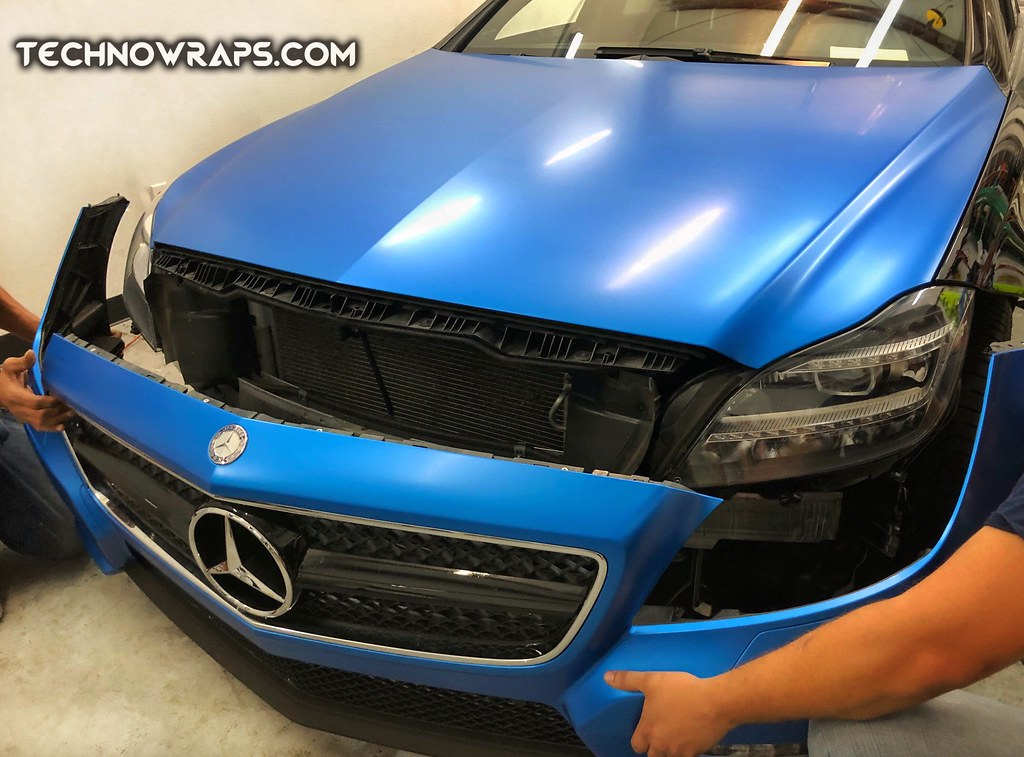 Mercedes CLS 550 car wrap in 3M Satin Perfect Blue | Flickr