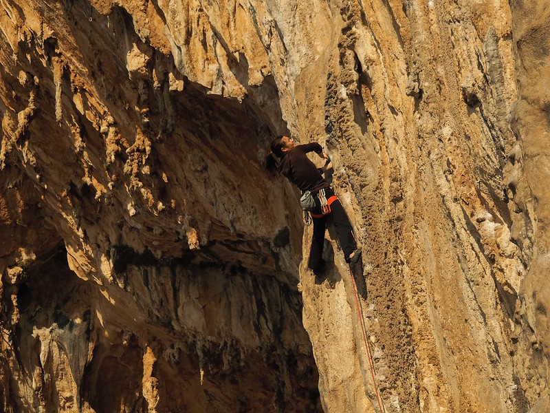 Top quality tufa action to the right of the Grande Grotte, Kalymnos. Climber unknown