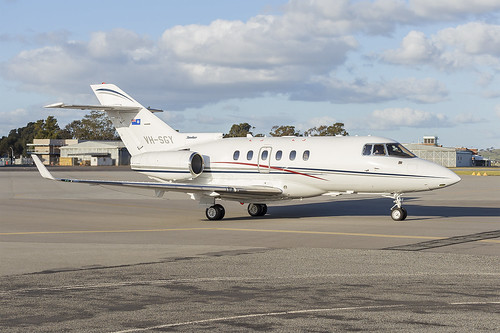 Government of Queensland (VH-SGY) Raytheon Hawker 850XP at Wagga Wagga Airport   by Bidgee