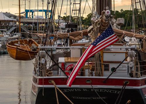 newengland ocean schooner camden bay me harbor boat maine jclay sunrise