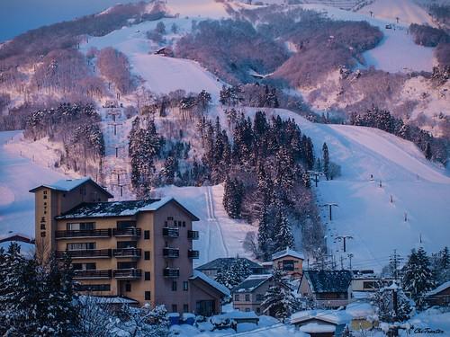 Ski resort in the evening light Hakuba Japan #Winter #Japan #Snow | by Chi Tranter