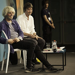Tim Burgess with Ian Rankin   The lead singer of The Charlatans discusses his passion for vinyl with Ian Rankin © Robin Mair